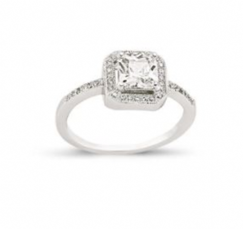 Ladies Silver | Cluster Ring | Square Shaped